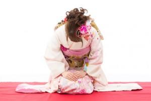 Beautiful kimono woman on white background